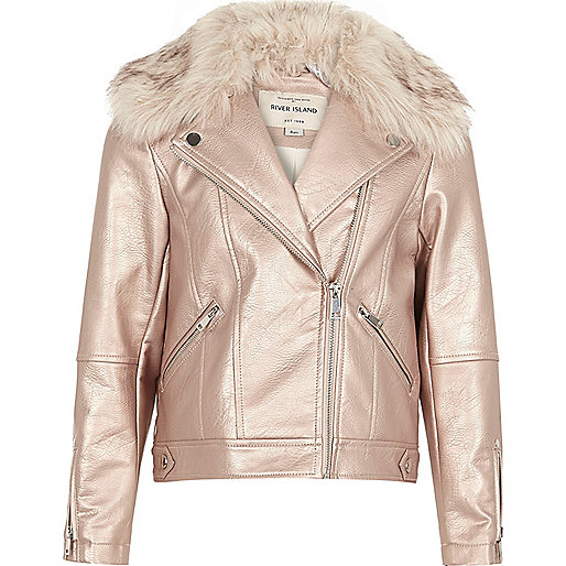 Girls metallic pink faux fur biker jacket
