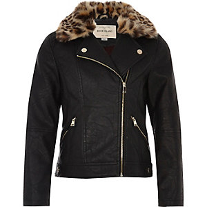 Girls black leopard print trim jacket