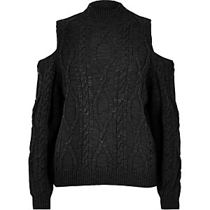 Girls black cable knit cold shoulder sweater