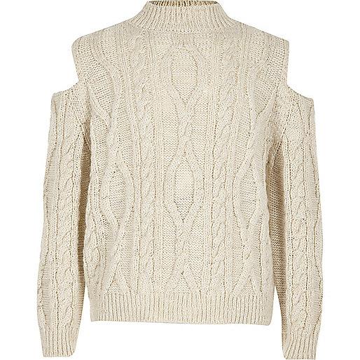 Girls cream cable knit cold shoulder jumper