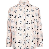 Rosa Oversize-Hemd mit Print
