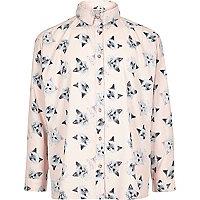 Chemise oversize imprimée rose pour fille