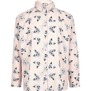 Girls pink print oversized shirt