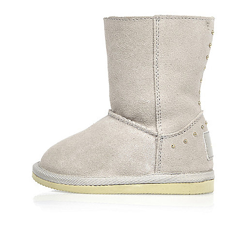 Mini girls grey studded soft boots