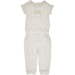 Mini girls slogan grey ribbed jumpsuit