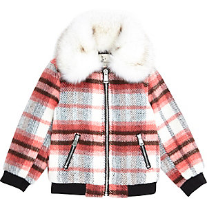 Mini girls red check faux fur collar bomber