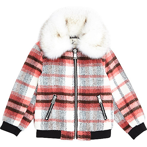 Mini girls red check faux fur collar bomber