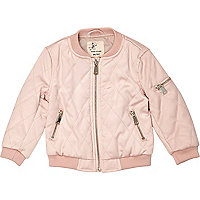 Mini girls pink padded bomber jacket