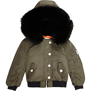 Mini girls khaki hooded bomber jacket