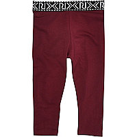 Mini girls burgundy branded leggings