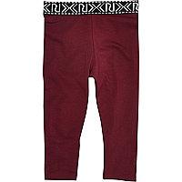 Mini girls burgundy branded leggings