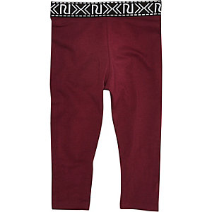 Mini girls dark red branded leggings