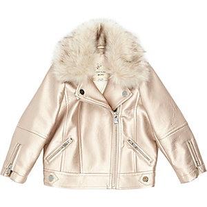 Mini girls pink metallic biker jacket