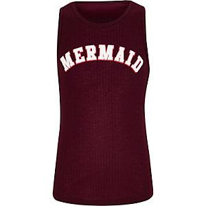 Girls dark red 'Mermaid' print ribbed tank