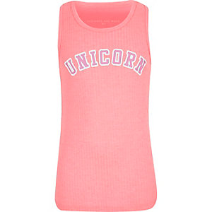 Girls pink 'Unicorn' print ribbed tank