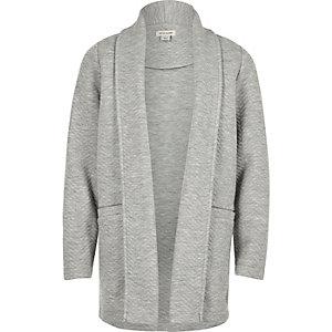 Girls grey knit jersey blazer