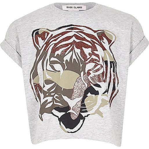 Girls grey glitter tiger print t-shirt