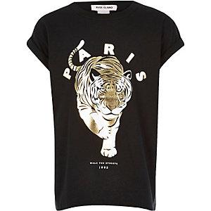 Girls black tiger print t-shirt