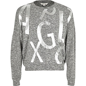 Girls grey slouchy alphabet jumper