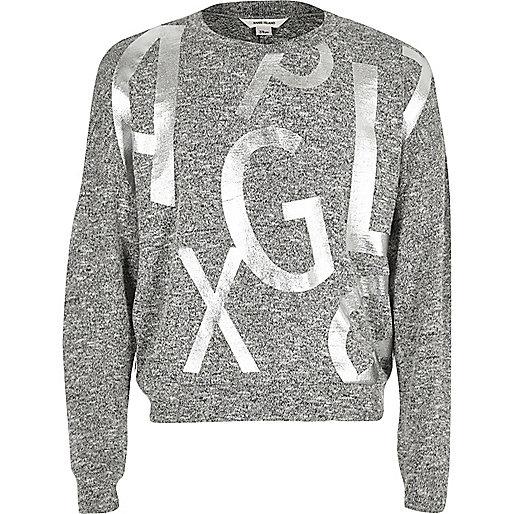 Pull gris ample motif alphabet pour fille