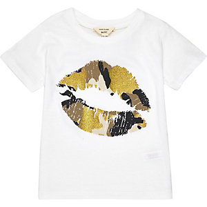 Mini girls white lip print t-shirt