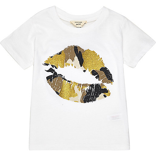 T-shirt à imprimé lèvres blanc mini fille