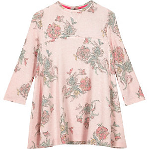 Mini girls pink floral swing dress
