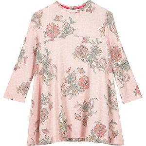 Robe trapèze à fleurs rose mini fille