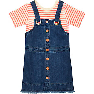 Mini girls stripe t-shirt dungaree dress