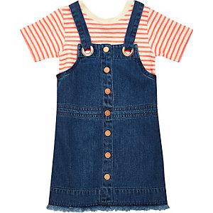 Mini girls stripe t-shirt overall dress