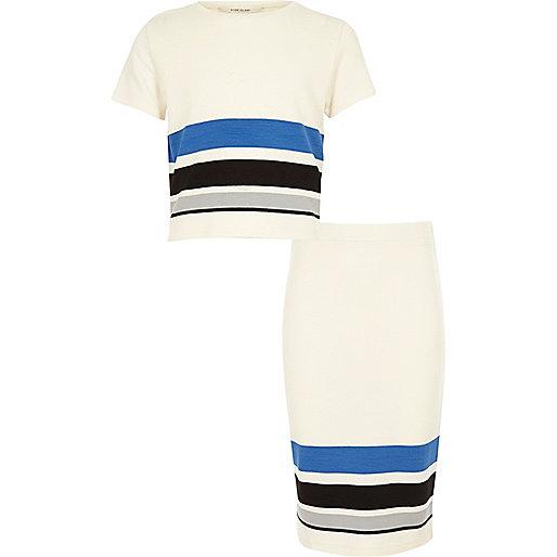 Girls cream t-shirt and skirt set
