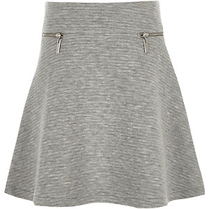 Girls grey textured zip skater skirt
