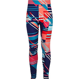Girls blue synthpop print high rise leggings