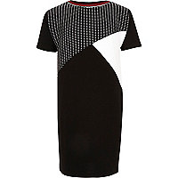 Girls black colour block T-shirt dress
