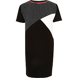 Girls black colour block cocoon dress