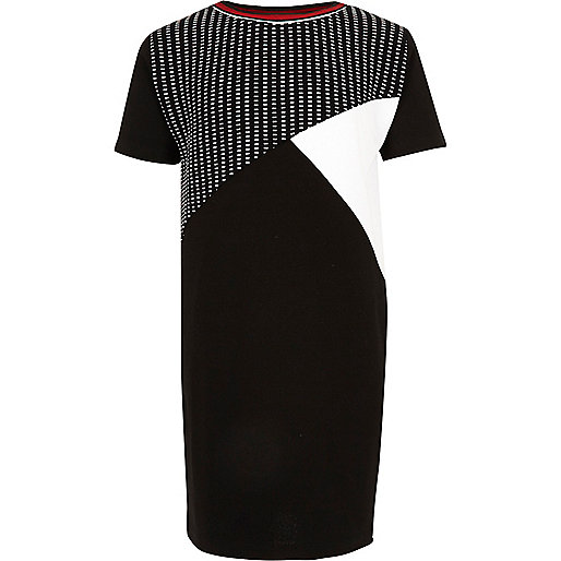 Girls black color block cocoon dress