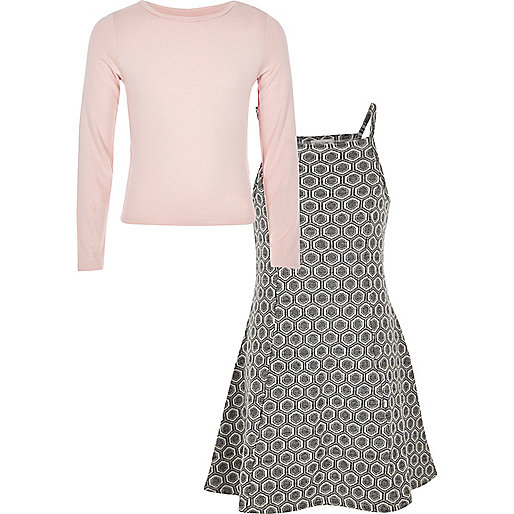 Girls grey jacquard dress and t-shirt set