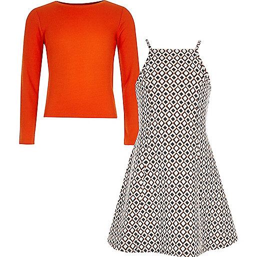 Graues Jacquard-Kleid und T-Shirt im Set