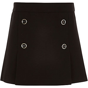 Girls black pleated military skirt