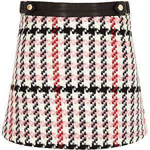 Girls pink check A-line skirt