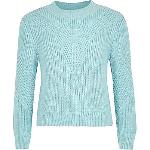 Girls blue knit zip back jumper