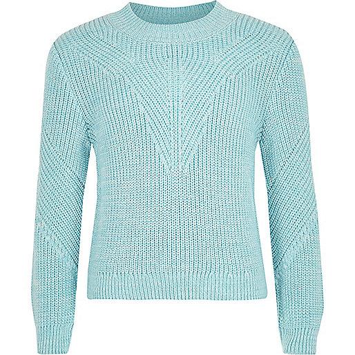Girls blue knit zip back jumper