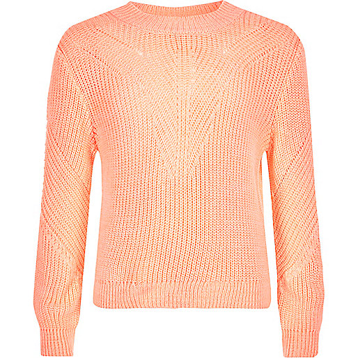Girls coral knit zip back sweater