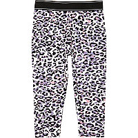 Mini girls pink leopard print leggings