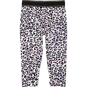 Mini girls pink leopard print leggings