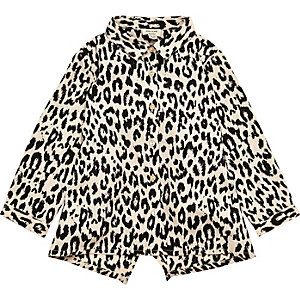 Mini girls leopard print shirt