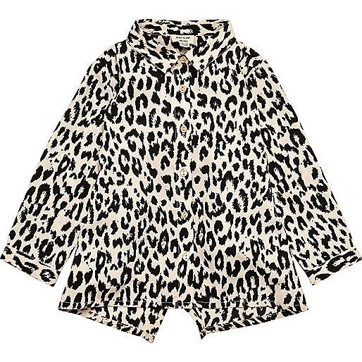 Chemise imprimé léopard mini fille
