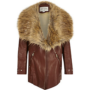 Girls brown faux fur trim fallaway coat
