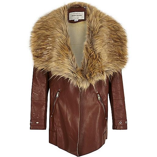 Girls brown faux fur trim fallaway coat