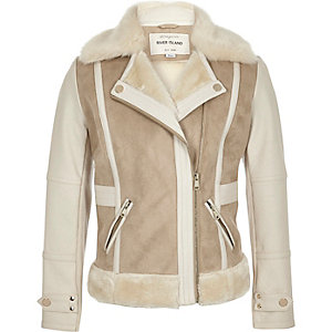 Girls cream faux suede panel shearling jacket